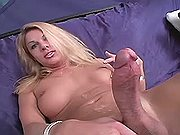 Blonde tgirl gets cum jet on belly