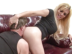 Fairy-haired shemale model Jesse punching her cock down guy's mouth