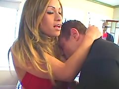 Latin shemale in red sucks fat cock